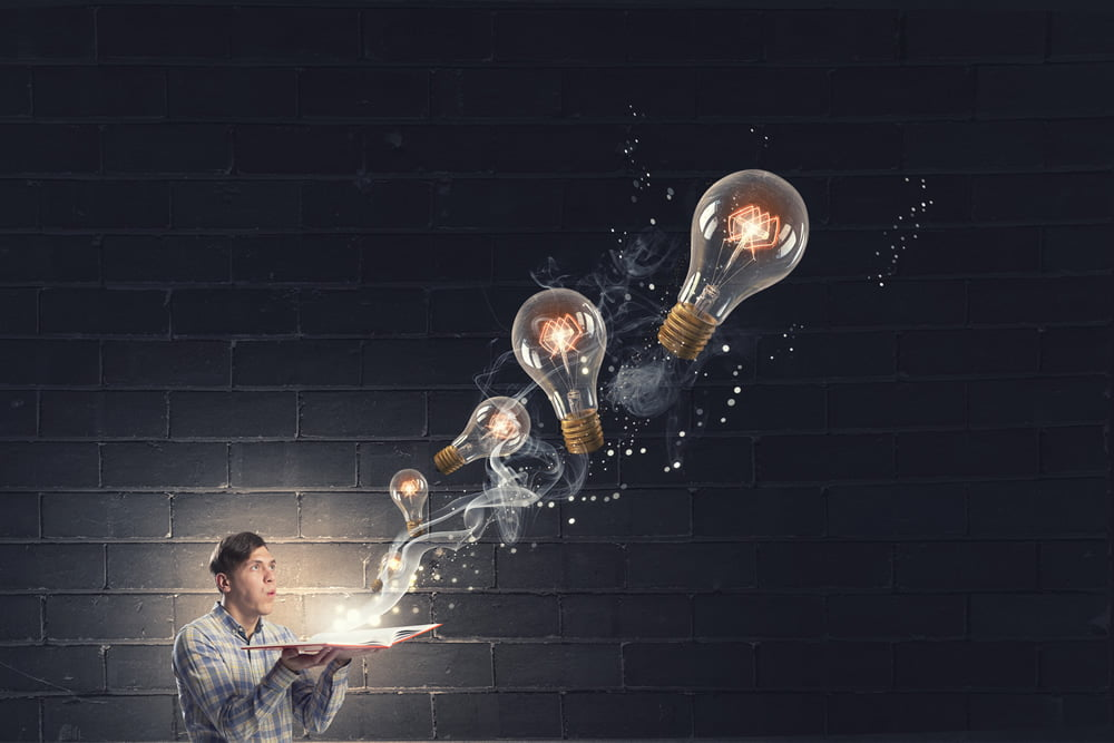 Lightbulbs Flowing From a Man representing Ideas
