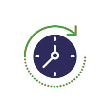 CLOCK WITH ARROW REPRESENTING FAST RESPONSE AND TURNAROUND